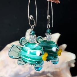 TU0005: Lampwork Earrings Fish, 925 sterling