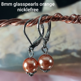 OR 0008: Earrings with 8mm GlasPearls Orange