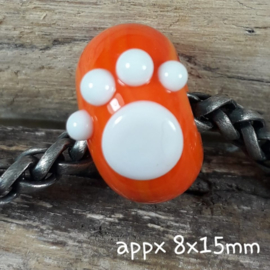 IKOR007: Big Hole Bead with PawPrint Orange, appx 8x15mm