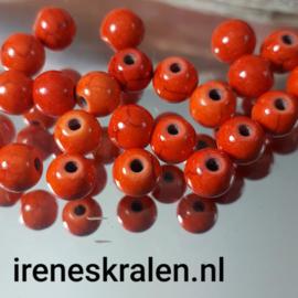 GO 004: Ronde Keramiek Kraal Faux-turquoise Oranje, ca 6mm