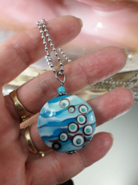 TU0037: Big Handmade GlassBead on a long BallChain Necklace