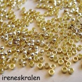 Knijpkralen goudkleur 2mm, ca.100 stuks