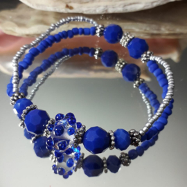 BL0005: Double Bracelet Blue & Silver