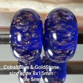 IKBL0026: Set van 2x GrootGatKraal, Kobalt & GoudSteen, ca 8x15mm (5mm gat)