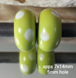 IKGR0202: Set of 2x Big Hole Bead PeaGreen Dots, appx 7x14mm