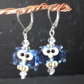 BL0015: Lampwork Oorbellen, Blauwe Uiltjes