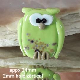 IKGR0190: Uil DubbelZijdig ErwtenGroen, ca 24mm