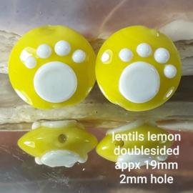 IKGE044: DuoSet Lentils met PootAfdruk Lemon, ca 19mm