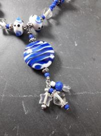 BL0014: Halflong Necklace Blue & White