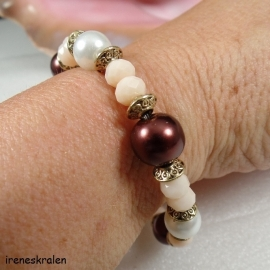 BR0061: Bracelet pearls & facetted beads