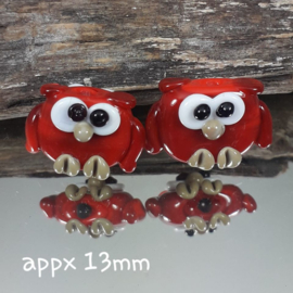 IKRD0008: Pair Owls Mini Red, appx 13mm doublesided, appx 13mm