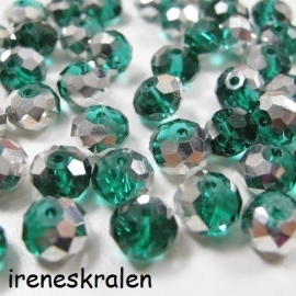 GG 120: Facetkraal Emerald/Turkoois/Zilver, 6x8mm