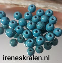 GAq013: Ronde Keramiek Kraal Faux-turquoise, ca 6mm