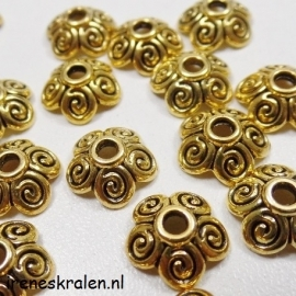 BeadCap 21: GoldColor Spirals 10mm Metal
