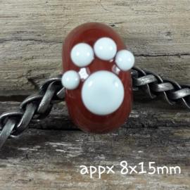 IKBR0245: Big Hole Bead with PawPrint, appx 8x15mm