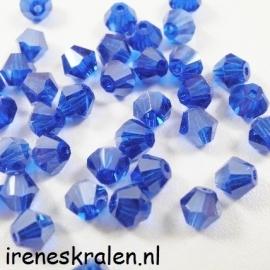 GBL 020 Kristal Konisch kraal: geslepen/Toupille, 6mm, Donkerblauw/kobalt