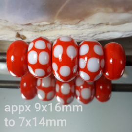 IKOR010: Set of 5x Big Hole Beads Orange