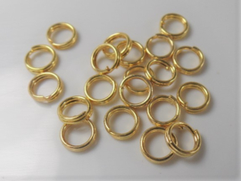 Double Rings 5mm Goudcolor, 0.7mm thick (per 20 pieces)