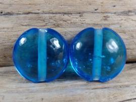 IKOC0204: DuoSet Lentils Transparant Aqua, ca 19mm