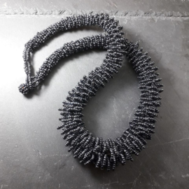 ZW0001: HalfLong Black Necklace, small seedbeads