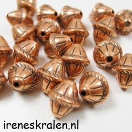Gd 086: Kraal Metallook DonkerRose, Bicone 9x8mm