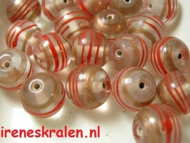 Grd 281 Rond transparant swirl rood/brons, lampwork, 12mm