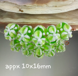 IKGR0170: Set of 5 Flowers Lime, appx 10x16mm