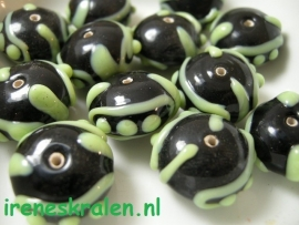 GG 173  Rondell  with Decoration 11x17mm, lampwork