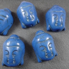 GBL 004: Stone Buddha Blue. appx 29mm,vertical hole