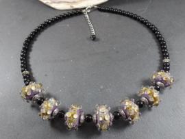 PRS 0005: Necklace with purple & raku homemade glassbeads