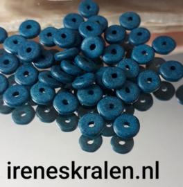 GAq010: Schijfjes DQ Grieks Keramiek Petrol Blue, ca 6x2mm
