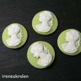 Camee 14mm groen meisje