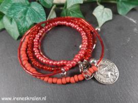 RD 0011: Wrap-Bracelet Red, little Glass SeddBeads
