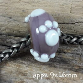 IKPR0004: BIG Big Hole Bead with PawPrint AllOver, appx 9x16mm (5mm hole)
