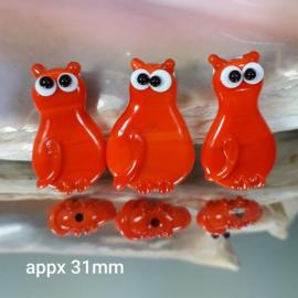 IKOR038: Focal Kat Oranje DubbelZijdig, ca 31mm