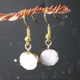 WI 0008: Earrings Natural Stone Crystal & GoldColor