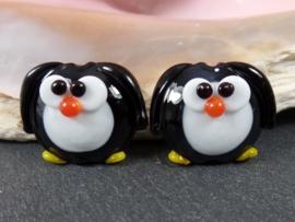 IKZW0155: DuoSet Pinguins DubbelZijdig, ca 19mm
