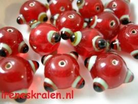 Grd 701 Bobbelkraal rood/zwart, lampwork, 11x15mm