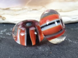 IKRD0016: Pair Striped Inside Black & Red, appx  9x16mm