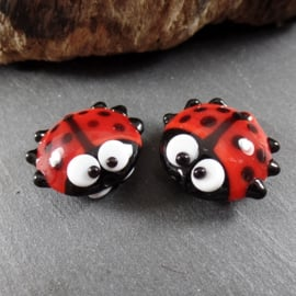 Pair LadyBugs Red Doublesided, appx. 18mm