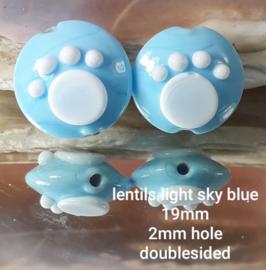 IKBL0032: DuoSet Lentils met PootAfdruk  SkyBlue, ca 19mm