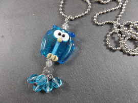 TU0034: Aqua Glass-Owl on a long ballchain necklace