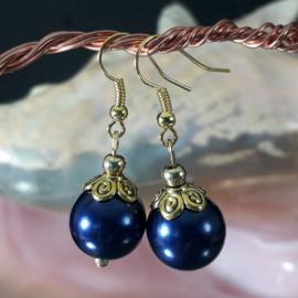 BL0008: Earrings GlassPearls DarkBlue, appx 4cm