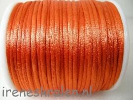 Satijnkoord 2mm oranje, per 1 meter (wordt zoveel mogelijk aaneen geleverd)