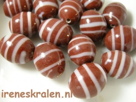 GB119: Oval Chocolat Swirl, 15mm, lampwork