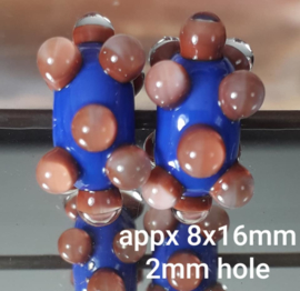IKBL0426: DuoSet LapisBlue & Koraal, ca 8x16mm
