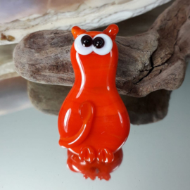 IKOR038: Focal Cat Bead Orange DoubleSided, appx  31mm