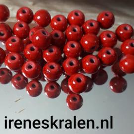 Grd 009: Ronde Keramiek Kraal Faux-turquoise Rood, ca 6mm