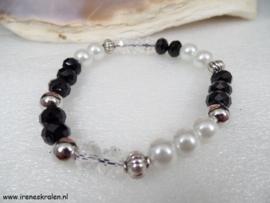 ZW0103: Armband zwart-wit-kristal
