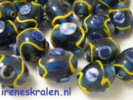 GBL900: DarkBlue & Yellow Oval, lampwork